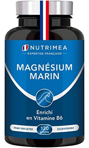 Magnésium Marin et Vitamine B6 | Jusqu'à 300 mg/jour | 120 gélules d'origine végétales jusqu'à 4 mois de cure | Combat…