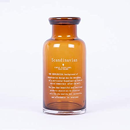 Homevibes Botella de Vidrio Rustica Decorativo Color Amarillo con Frase Scandinavian, Jarron de Jardin, Uso Exterior