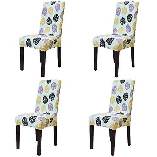 Homiest 4Pc Soft Spandex Fit Stretch Dinning Room Chair Protector Covers Floral Printed Chair Cover, Green Leaf (Printed Living Room Chairs)