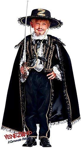 Prestige Collection Italian Made Super Deluxe Baby & Older Boys Black Bandit Historical Halloween Carnival Book Day Week Fancy Dress Costume Outfit 0-12 years (11 -