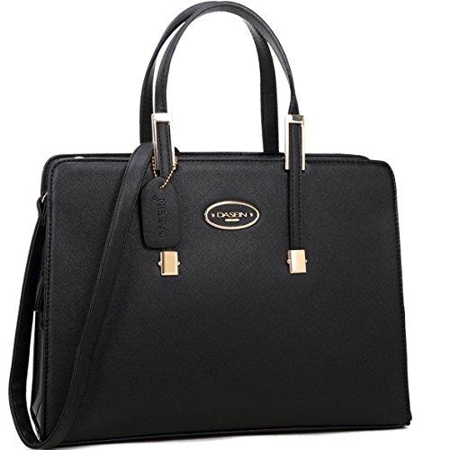 Dasein Women Top Handle Pu leather Satchel Briefcase Handbag, Tablet, iPad Bag Work Purse BLACK
