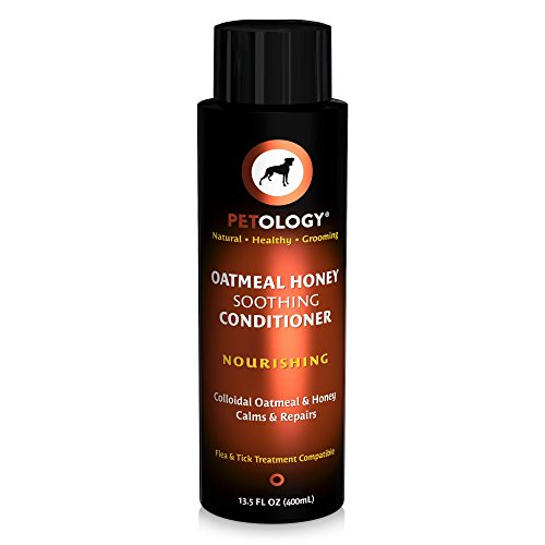 Petology Conditioner For Dogs - Colloidal Oatmeal & Honey Nourishes & Replenishes - Soothing To Calm Irritated Skin - Creamy Vanilla & Honey Scent - 13.5 oz by Petology