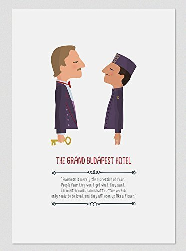 """Print """"The Grand Budapest Hotel''. Available in two sizes: A4 / A3. Included a quote from the movie."""