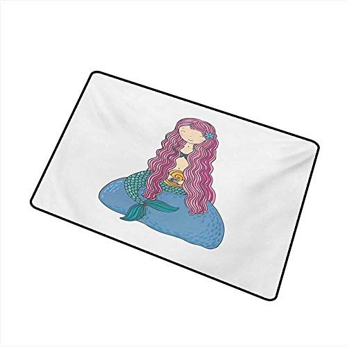 Axbkl Bedroom Doormat Mermaid Sweet Mythological Girl with a Shell and Long Pink Hair Fantastic Sea Character W20 xL31 Mildew Proof]()