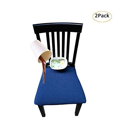 Waterproof Dining Chair Cover Protector – Pack 2 – Perfect for Pets, Kids, Elderly, Restaurants, Party – Machine Washable, Snugly Fit, Removable, Many Color Choices, Clean The Mess Easily (Navy Blue)