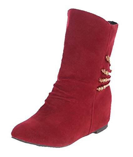 Allhqfashion Women's Solid Kitten-Heels Round Closed Toe Imitated Suede Pull-On Boots Red