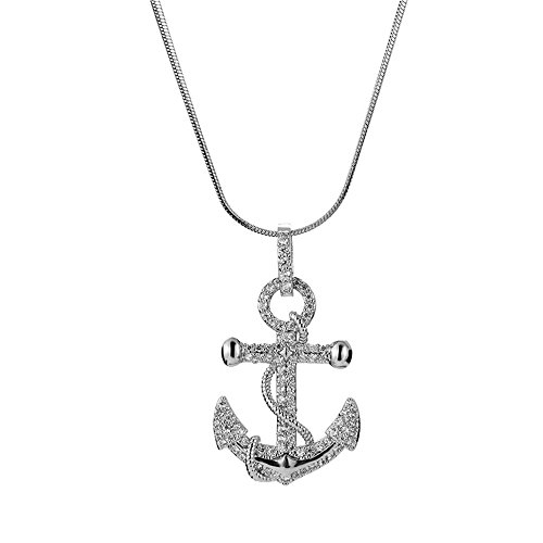 MCSAYS Hip Hop Jewelry Anchor Pendant Stainless Steel Iced Out Bling Amulet Necklace (Silver, 50cm) by MCSAYS