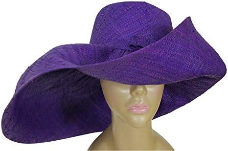 b539ff7a22a Abeke  Authentic African Hand Made Purple Madagascar Big Brim Raffia Sun Hat
