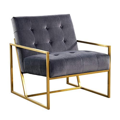 Mid-Century Modern Accent Arm Chair, Velvet Single Living Room Lounge Chair with Metal Frame in Gold Finishing - Grey