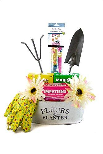 Deluxe Gardening Tools Gift Basket Set in Galvanized Flower Tin