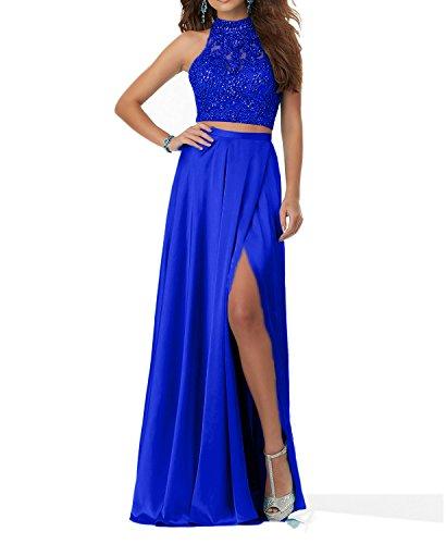 Charmant 2018 Langes Promkleider Abendkleider Steine Royal Blau Damen Abschlussballkleider Zweiteilig Blau 8rCqwr