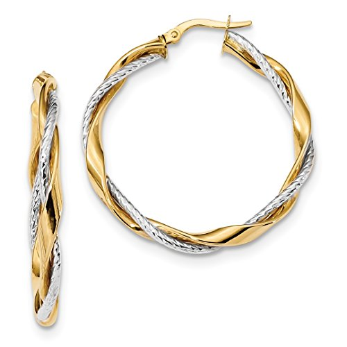 14k Two Tone Yellow Gold Rope Twisted Hoop Earrings Ear Hoops Set Fine Jewelry Gifts For Women For Her
