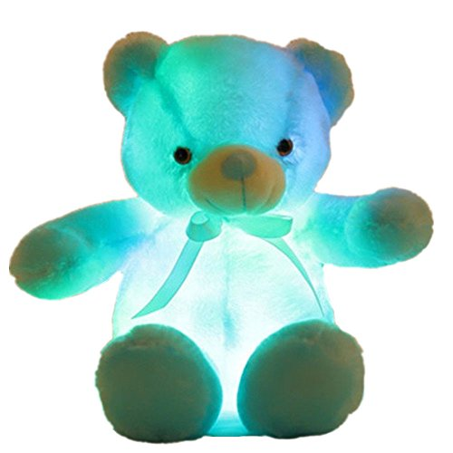 Creative Light Up LED Inductive Teddy Bear Stuffed Animals Plush Toy Colorful Glowing Teddy Bear, 20- Inch(Blue) ()