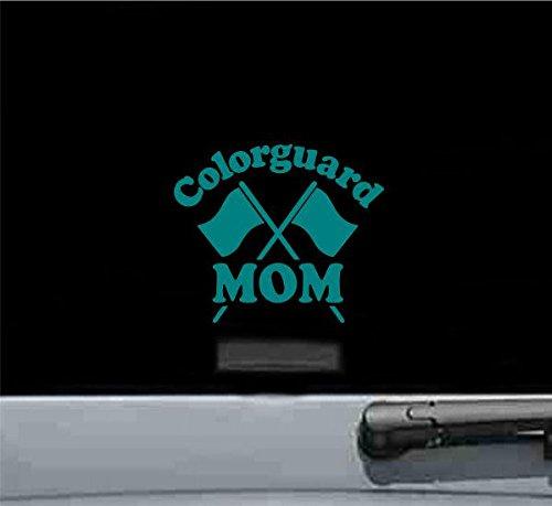 Colorguard Mom Vinyl Decal Sticker (TEAL) (Rim Vinyl Guard)