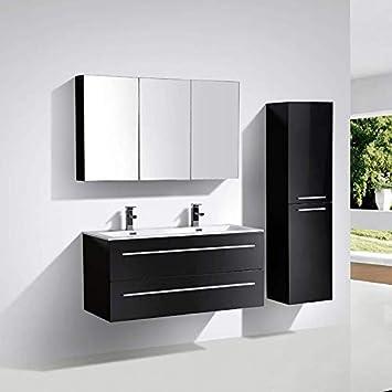 Meuble Salle De Bain Design Double Vasque Siena Largeur 120 Cm Noir