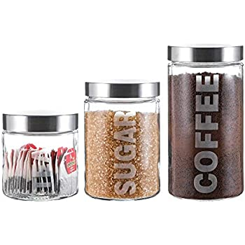 Coffee 3 Copper Le Regalo HW1240 3 Piece Tea and Sugar Storage Jar Set