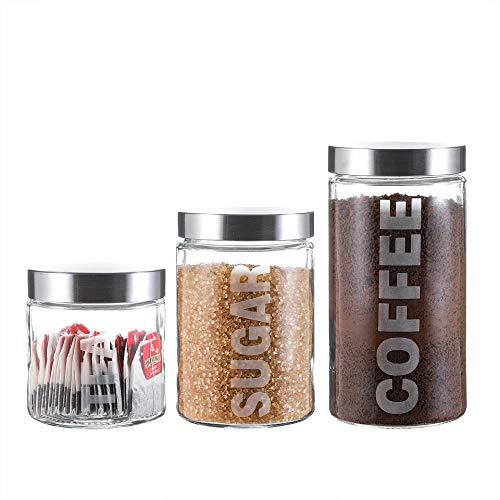 Glass Canister Set with Stainless Steel Lids 57/44/29 Ounce for Coffee, Sugar and Tea (3-Piece Assorted) ()