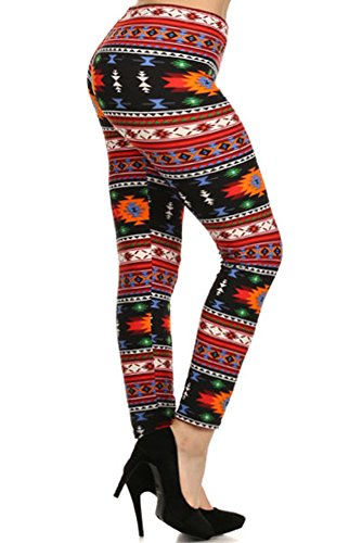Fashiondio Women's Plus Size Print and Solid Leggings (ZIGZAG TRIBAL)