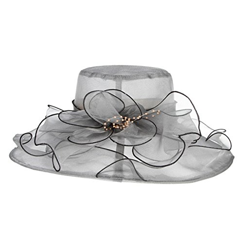 3 Wide Pinecone Light (Summer Hats For Women Organza Floral Wedding Fedoras Formal Kentucky Derby Hats Wide Brim Sunha)