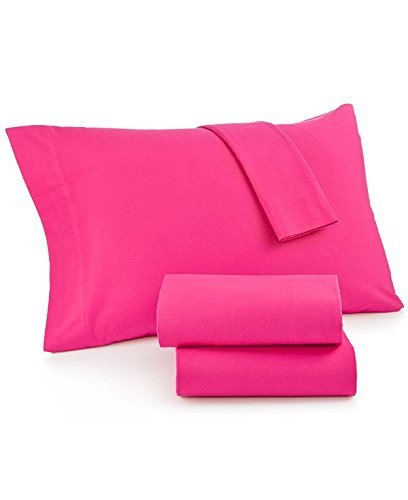 Pink Sheets Flannel (Martha Stewart Collection Solid Flannel Sheet Set (Queen, Hot Lipstick Pink))