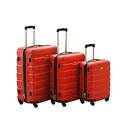 Spread Spain Swiss Life Lightweight Polycarbonate + ABS Hard Side Suitcase  4 Wheels 20 Inch Trolley Bag- Pack of 3 Pcs - (Red)  Amazon.in  Bags 233996246e1e5