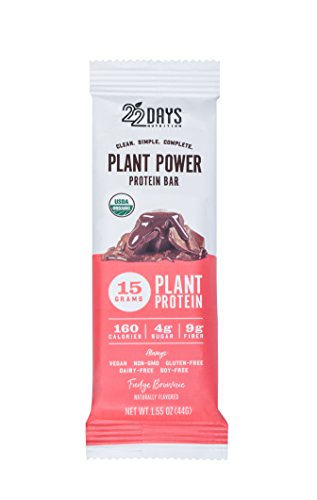 22 Days Nutrition Low Calorie Organic, Gluten Free, Vegan, Soy Free, Dairy Free, Real Food, 15g Protein, Low Sugar (4g), Fiber (9g) Fudge Brownie Plant Based Protein Bars, 4 Count