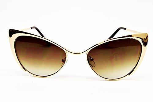 E16-vp Style Vault Cateye Sunglasses (VA Gold-Brown, clear)