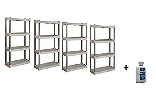 Plano Molding 4 Shelf Utility Shelving, (Tan, 4 Pack + Freebie.) ()