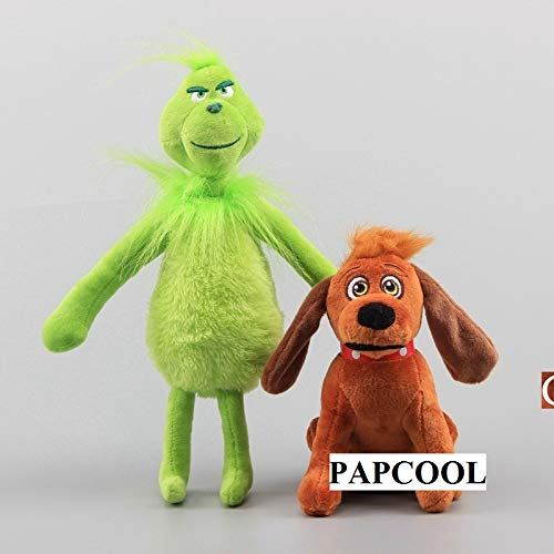 (PAPCOOL Set 2 Grinch Plush Toys 6 - 12 inch Hot Toy Cute Stuffed Stuff Doll Dog Christmas Halloween Birthday Valentine Collectable Gift The Movie Collectible Gifts Big Size Collectibles)