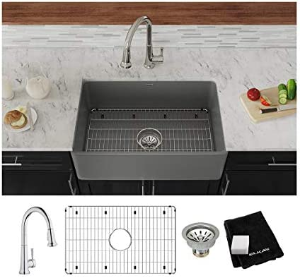 Elkay SWUF28179MGFC Fireclay Single Bowl Farmhouse Sink Kit with Faucet, 30 , Matte Gray