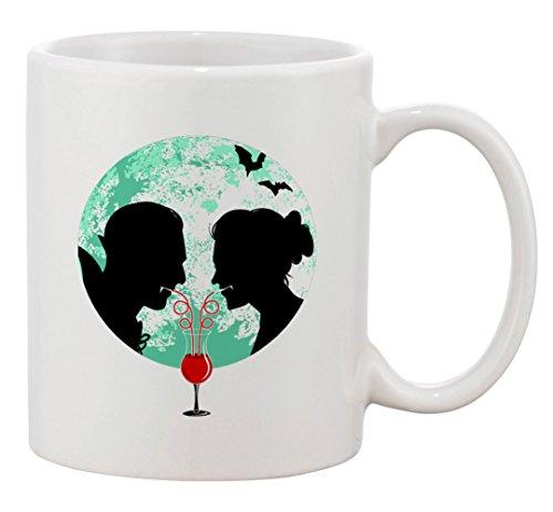 (Ceramic Coffee Mug - Bloody Couple Vampire Date Silhouettes w/Moon & Bats)