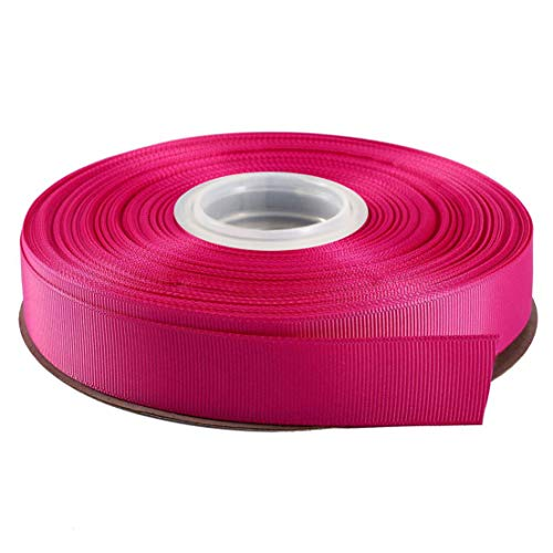 Kailin 5/8 inch Wide Grosgrain Ribbon 25 Yards Roll Multiple Colors Shocking Pink