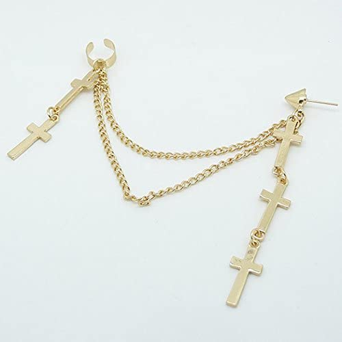 Afco Gothic Punk Cross Long Tassel Chain Ear Cuff Stud Clip Earrings Wome Girl Party Jewelry