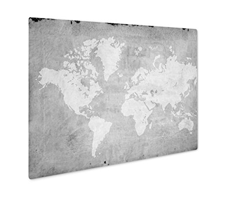 (Ashley Giclee Vintage World Map Retro Paper Ancient History World Map, Wall Art Photo Print On Metal Panel, Black & White, 24x30, Floating Frame, AG5810842)