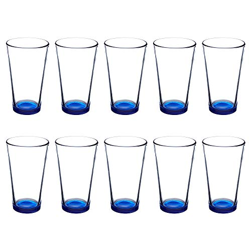 Libbey Pint Glasses, 16 oz. Set of 10, Beer or Mixing Glass, Heavy Duty Drinkware, Blue