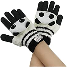 Women Cute Cartoon Knitted Gloves Girls Kids Winter Thermal Touchscreen Hand Gloves for iPad iPhone Tablets Thick Warm Full-finger Hand Wear Gloves Mittens for Outdoor Cycling Biking Driving Skiing