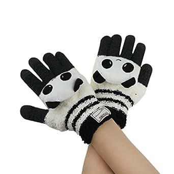Amazon.com: Women Cute Panda Knitted Gloves Girls Kids