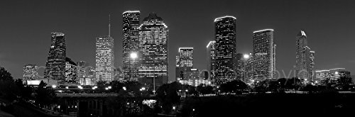 Houston Skyline PHOTO PRINT UNFRAMED NIGHT Black & White BW City Downtown 11.75 inches x 36 inches Texas Photographic Panorama Poster Picture Standard (Houston Texas Skyline)