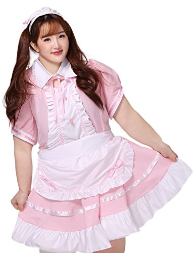 [BS Japan Anime Uniforms [Plus size Lolita French Maid] Pink (5X (30~32))] (High School Zombie Costumes)