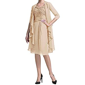 5edafdbc072 Fitty Lell Women s Two Piece Lace Mother of The Bride Dress Knee Length  with Chiffon Jacket Evening Dress(US22W