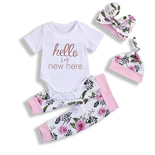 Newborn Infant Baby Girl Outfits Hello I'm New Here Short Sleeve Floral Print 4Pcs Clothes Set (0-6 Months, White & -