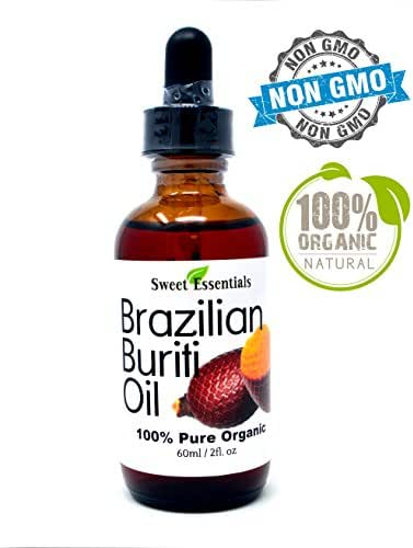 100% Organic Buriti Fruit Oil | Imported From Brazil | 2oz Glass Bottle With Glass Dropper | 100% Pure | Cold-Pressed | Natural Moisturizer for Skin, Hair and Face | By Sweet Essentials