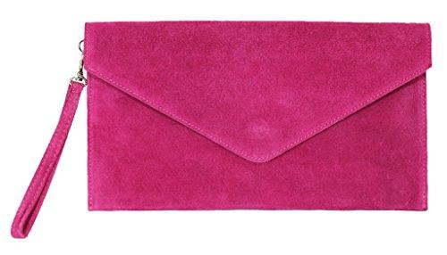 BHBS Bolso para Dama tipo Sobre de mano en Cuero Gamuzado Italiano Auténtico 30.5 x 16 cm (LxA) hot pink