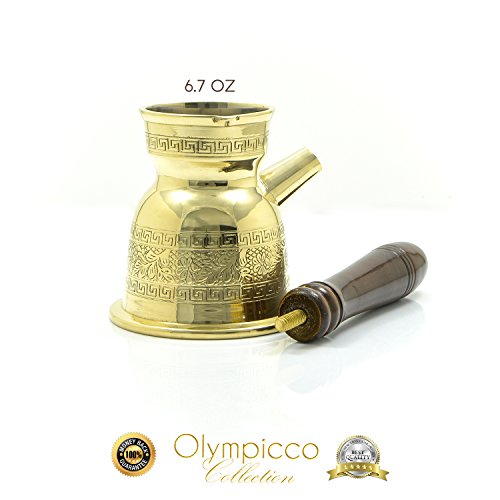Coffee Design Theme - Greek Turkish Coffee Pot Solid Brass 2.8mm - Handmade Elegant Patterns with Coffee Flowers and Greek Key Design with Removable Wooden Handle - Olympicco Collection (6.7 Oz)