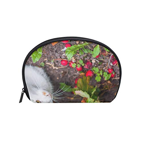 Makeup Cosmetic Bag Cat Is Sitting Jungle with Zipper]()