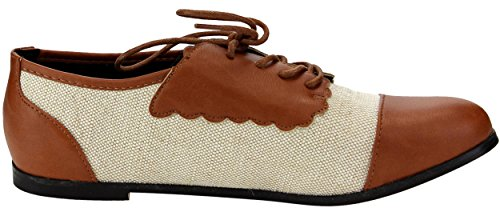 Chase & Chloe Womens Flat In Twill Oxford Bicolore