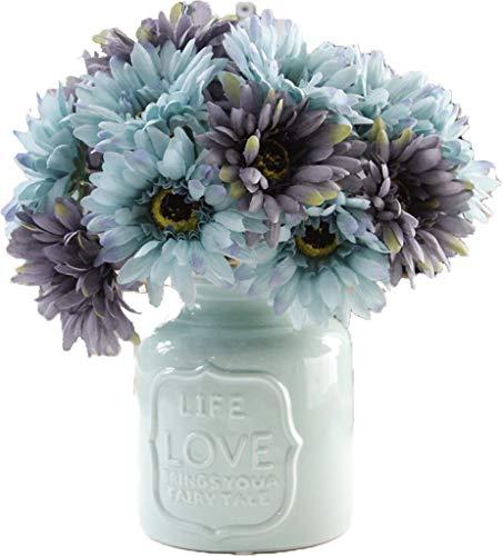LNHOMY Daisy Artificial Flowers 15 Stems Silk Daisies Flower for Wedding Bouquet Living Room Office Party DIY Home Decoration, Cream and Green (Blue Grey) (Silk Flower Arrangment)