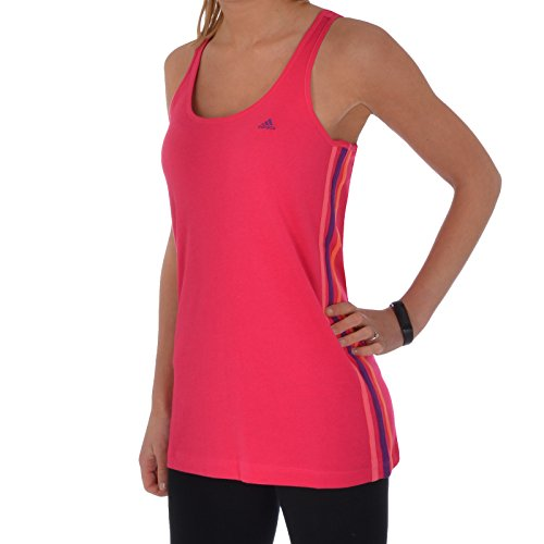 adidas Performance Women's 3 Stripe Tank Vest Top - Pink - X-Small - Adidas Vest Woman