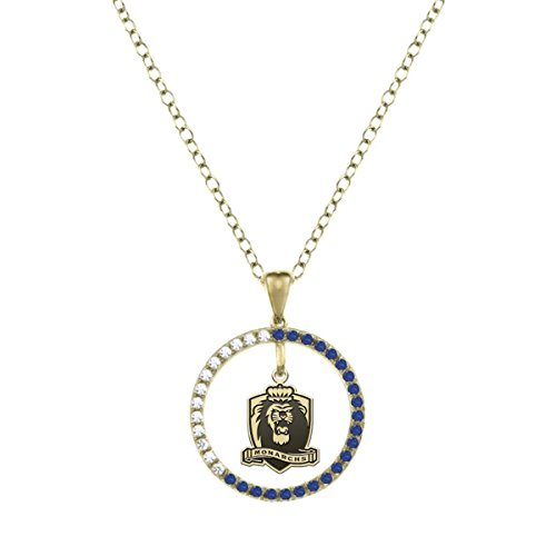 Old Dominion University Monarchs Sapphire And Diamond Charm Necklace   14Kt Gold
