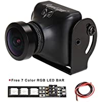 RunCam Owl Plus 700TVL FPV Camera Mini(Black) 5-22V 0.0001 Lux 150 Degree Wide Angle for Racing Drone with 1 PCS RGB LED BAR